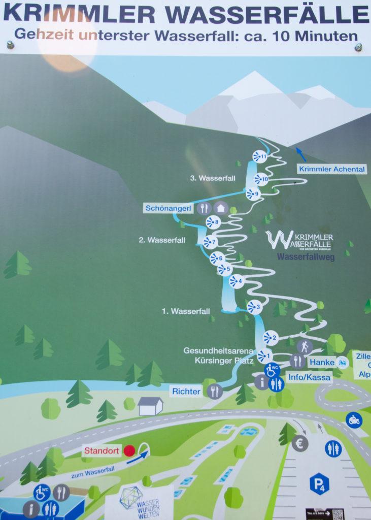 Krimmlski slapovi zemljevid