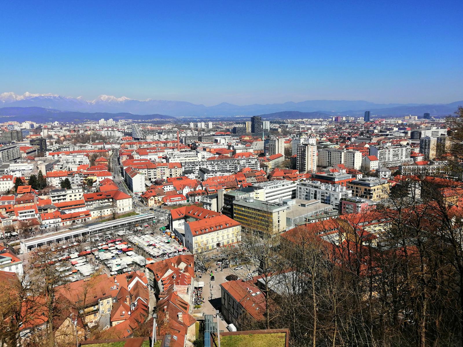 Pogled na Ljubljano z ljubljanskega gradu