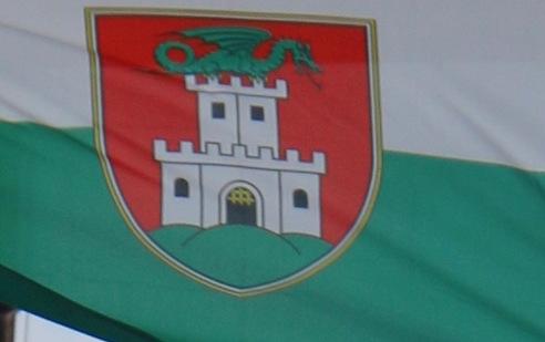 Zastava mesta Ljubljana s simbolom, ljubljanskim zmajem