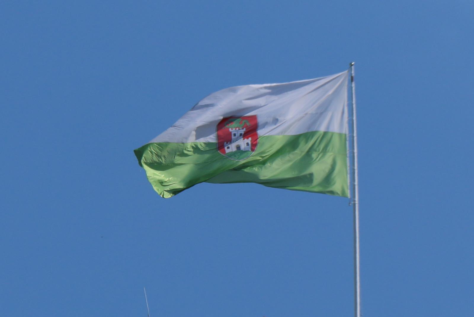 Ljubljanska mestna zastava s podobo ljubljanskega zmaja