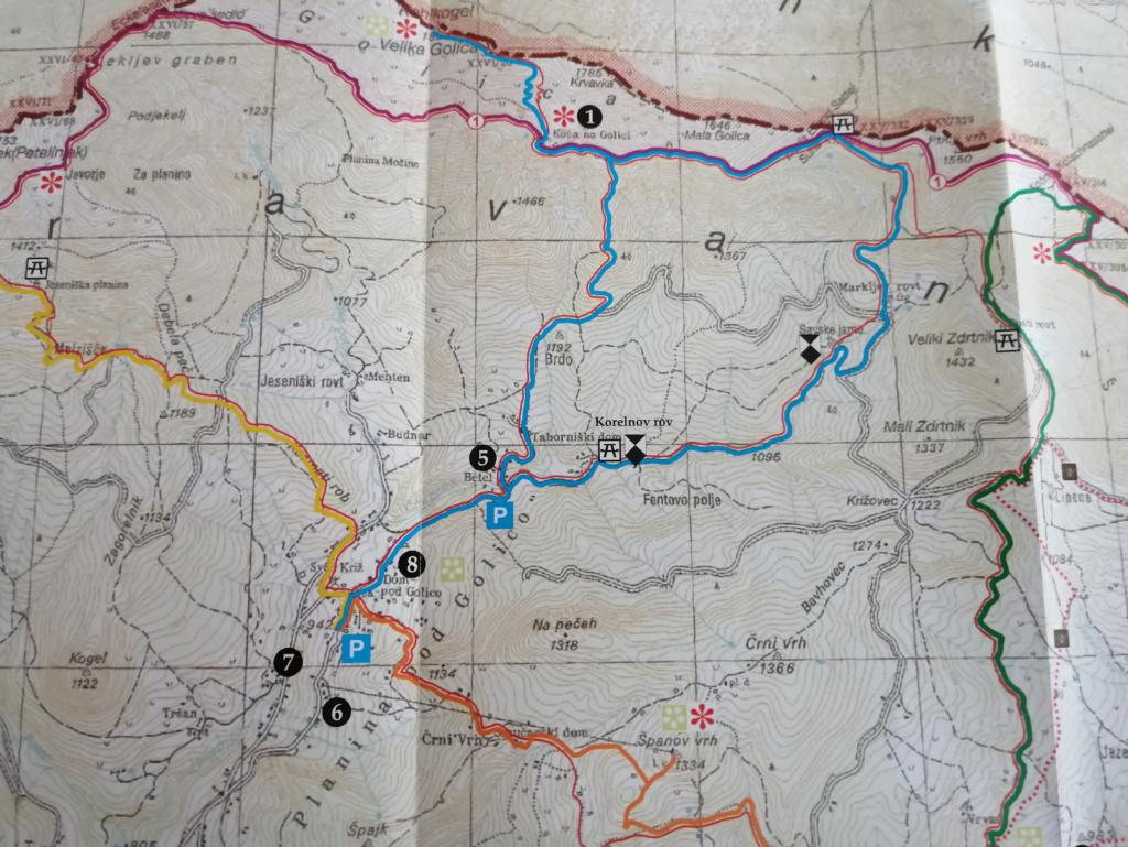Načrt poti, izsek iz Pohodne poti po občini Jesenice