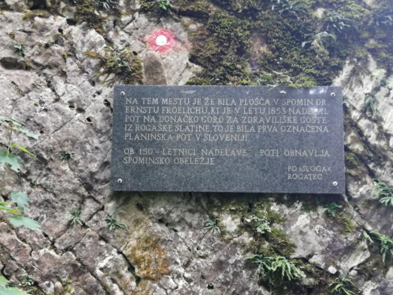 Donačka gora, spomenik najstarejši planisnki poti