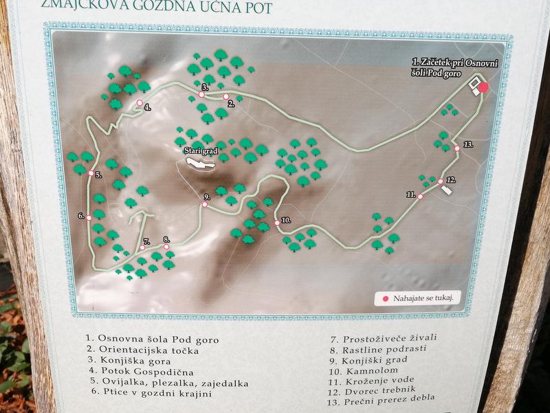 Zmajčkova gozdna učna pot, zemljevid
